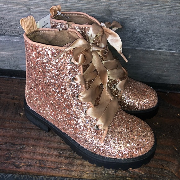Girls Toddlers Combat Glitter boots size  9 /& 12